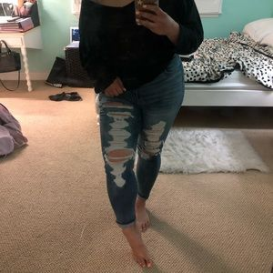 American eagle curvy super high waisted jeans
